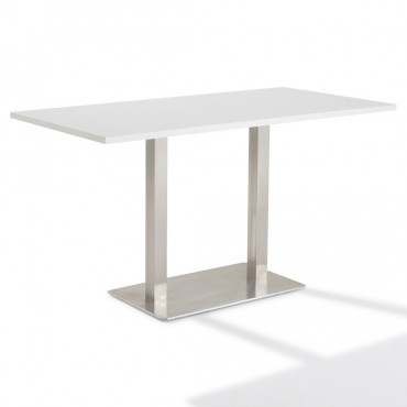 Table de réunion  - Piétement inox brossé Moka rectangle