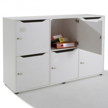 Vestiaire meuble casier multicases en bois 6 cases